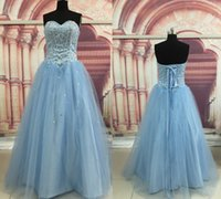 Wholesale Light Sky Blue Lace Up Back Tulle Quinceanera Dresses Sequin Crystals Fashion Quinceanera Gowns Sweetheart Neckline Party Prom Dresses
