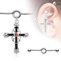 barbell kit - fashion jewelry Cross Dangle Industrial Barbell Spirals Kit mm Wave Gauge Body Piercing Jewerly
