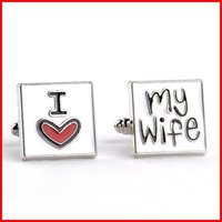 Wholesale Metal red heart i Love my Wife Cufflink Cuff Links Enamel sleeve button for women men shirts dress suit Cuff links mother day gift