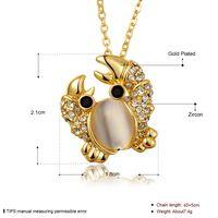 al por mayor collar de oro del cangrejo-Collar de plata de la joyería de la manera de las mujeres collar del colgante del cangrejo collar de piedra de la cadena del acoplamiento del collar
