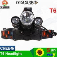 ac cars for sale - HOT Sale Lumen XCREE XM L T6 LED Headlamp Headlight Head Torch Lamp AC Charger Car Charger for Outdoor Camping DHL