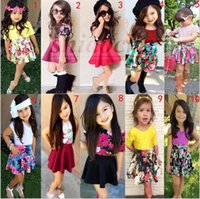 Wholesale 21 Color Kids T shirt Floral Skirt Sets Girl Fashion Outfits Summer Tutu Dress Outfits Flower Tops Stripe Skirts Two Piece Clothes A861
