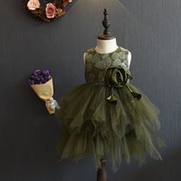 Wholesale 2016 Fall wedding party dresses halloween kids clothing girls winter baby clothes floral dresses kids ball gown pageant dress tutu princess