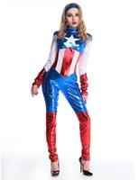 Wholesale TITIVATE Sexy Captain America Costume Women Halloween Carnival Cosplay Jumpsuits Costume Adult Captain America Costume