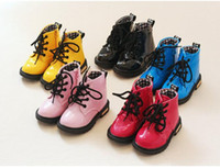 Wholesale Hot Sale Spring Autumn Fashion Sneakers Children Shoes Kids Martin Boots Girls boosts Shoes Boys Shoes Bright Leather boots