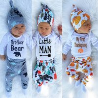animal hats for kids - For children babies Romper pants hat three piece suit boy and girls clothing sets kids clothes Jumpsuits Thanksgiving clothing