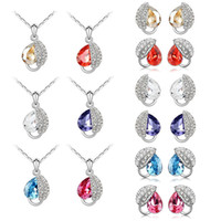 Wholesale and retail women crystal jewelry set the leaf crystal jewelry set necklace stud earrings