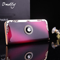 american cell - Brand New PU Faux Leather Women Long Purse Zipper Wallet Phone Case Designer Gradient Color Purses For Women
