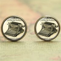 american printing press - 10pairs Vintage typewriter earring pressed in order to print letters earring glass Photo Writer Jewelry earring