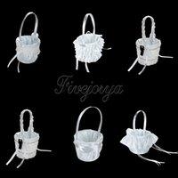 5 Styles Blanc Dentelle Diamante Boucle Peaux Fleurs Satin Ruban Bow Fleurs GirlsBasket pour la décoration de mariage Décoration