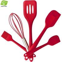 Wholesale 5PCs Set FDA Approved Silicone Kitchen Tools Cooking Utensils Silicone Turner Spatula Basting Brush Whisk Set