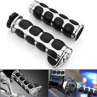Wholesale 2pcs Chrome Billet Aluminum Bar End Cap Black Soft Gel Rubber Hand Grips Palm Rest Fits Custom Motorcycle