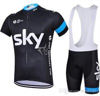 bicycle short jerseys - 2015 Sky Cycling Jersey Short Sleeve Jersey Bib Shorts Set Pro Team Sky Cycling Clothing Maillot Bike Bicycle Wear