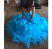 beautiful fantastic - 2016 Light Sky Blue Quinceanera Dresses Sweetheart Lovely Crystals Occasion Dress For Girls Fantastic Great Design Beautiful Wonderful