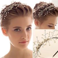 Cheap 2015 Hot Sale Shining Impearl Wedding Crowns Crystal Jewelry Hairclips Wedding Tiaras Comb Bling Crystals Wedding Bridal Veil Crown Headband