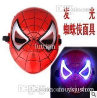 Wholesale 2015 High Quality LED luminous dark mask Iron Man Spider Man Halloween costume props novelty toy theaters worldwide favorite boy
