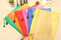 Venta al por mayor-Libre 5 PC / Zip bolsa de plástico Documento pluma presentación de carpetas de bolsillo de los productos de Bolsillo escuela de la oficina Herramienta 6 colores