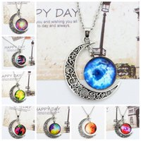 Wholesale 36 colors Vintage moon necklace starry Moon Outer space Universe Gemstone necklaces pendants Chain jewelry Children Accessories bjd nerf