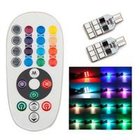 audi fog lamps - 12V T10 W LED RGB LED Car Lights for reading reversing clearance turn parking fog light with remote controller