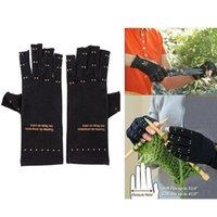Wholesale New Magic Soft Unisex Men Magnetic Arthritis Finger Knuckles Gloves Relief Therapeutic Compression Black