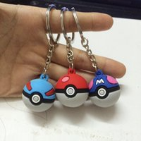 Wholesale Pokeball Go Action Figures Poke Ball Anime Keychain Silicone Poket Monster Car Decoration Keychains Halloween Xmas Gifts