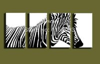 art wildlife - modern canvas art Abstract acrylic zebra black white wildlife oil painting on canvas for living room decoration