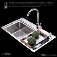 Wholesale Han Pai Stainless Steel Double Bowel Thicken Square Brushed Artesanato Kitchen Sink Faucet Fregadero HPC06