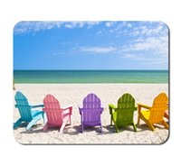 adirondack chairs - Mousepads Adirondack Beach Chairs on a Sun Beach in front of a Holiday Vacation Travel house by Liili Customized Mousepads