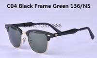 al por mayor paquetes de monturas de gafas-Fahsion para mujer para hombre marca con vidrios de Sun de aluminio de alta calidad estructura de metal Bisagra verde lente de cristal de las gafas de sol UV400 con el embalaje