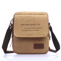 Wholesale 2016 New Men Messenger Bags Canvas Vintage Bag Men Shoulder bag Crossbody Bags for Man Khaki Black Small Bag Designer Handbags
