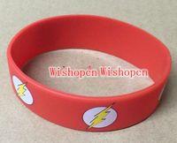 Wholesale New Popular Superhero Flash Wristbands Silicone Bracelets Gift Filled In Color Bracelet zq