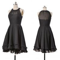 Wholesale Simple Black Cocktail Dress Designs - 2016 Fashion Chiffon Short Prom Party Dresses Evening Wear Cascading Ruffles Formal Cocktail Bridesmaid Gowns Zipper Design Cheap Price