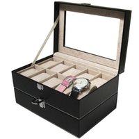 Wholesale Hot Sale Luxury Leather Double layer Grid Watch Display Box Jewelry Storage Organizer Watch Case Caixa De Relogios opbergbox