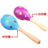 Wholesale Children s toys and baby instruments sand hammer months wooden rattle toys