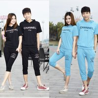 Wholesale 2016 summer new Korean men and women hooded lovers short sleeved sweater pant sports packages Jogging Clothing