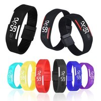 Wholesale Screen Color Squares - Candy Color TPU Strap White LED Screen Casual Bracelet Wrist Watch Sport Digital Men Women Unisex Jelly Candy Rubber Silicone Wristwatc