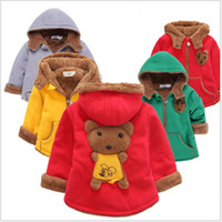 Coat 1-5T With Hood Fashion 2016 Winter Baby Boys Girls Cartoon Bear Coats Children Zipper Hooded Thicken Warm Outwear Kids Winter Clothing Cute Girl Coat