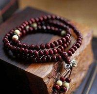 Cheap Wholesale-Fashion Bracelets Natural 6mm Rosewood Beads 108 Buddha Bracelets Men Women Long Bangle Religion Gift Wholesale Tibet Jewelry