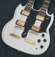 Wholesale best china guitar Custom Shop Double Neck Alpine White Electric Guitar By Spring OEM Music china