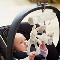 bell seats - Rabbit baby music hanging bed safety seat plush toy Hand Bell Multifunctional Plush Toy Stroller Mobile Gifts WJ141