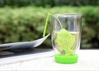 Wholesale 6 Colors Fish Tea Infuser Cartoon Fish Shaped Tea Filter Strainer Silicone Animal Cute Tea Strainers Cooking Tools Lovely Drinkware