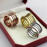 Wholesale Size Rose Gold K Gold Platinum Plated Width13mm threaded spring Titanium Steel Rings Couples jewelry