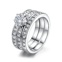 Wholesale Classic Designer Round CZ Engagement Rings Sets For Women White Gold Plated Crystal Wedding Ring Jewelry