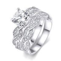 Wholesale Infinity Wedding Band Anniversary Engagement Ring Bridal Set KGP Gold White Gold Cubic Zirconia US Size