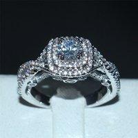 Moda plata de ley 925 CZ redonda de la joyería 2 Surround pavimenta la configuración de anillos de piedras preciosas dedo diamante simulado de boda anillos de banda para las mujeres
