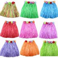 Wholesale Tassel Child Girl Princess Flower Hula Grass Skirt Fancy Costuhow Show SkirtHula grass skirts cosplay Dancewear clothimg cm E1184