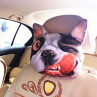 Wholesale Cool D Printed SharPei Dog Face Car Neck Pillow Soft Auto Head Neck Rest Cushion Headrest Pillow Activated Carbon Seat Covers