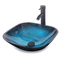 Wholesale Ocean Blue Square Bathroom Sink Artistic Tempered Glass Vessel Sink Combo with Oil Rubber Bronze Faucet and Pop up drain Bathroom Bowl A04