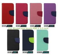 Cubierta de cuero de lujo de la caja del teléfono móvil del soporte de la carpeta de la PU del tirón de Mercury de la alta calidad para Alcatel un PIXI del tacto 4 5.0 pulgadas