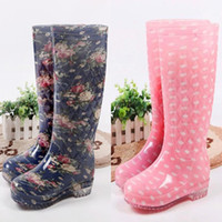 Wholesale 2016 New Fashion Rubber Boots For Women Floral Rain Shoes High Knee Boots Rain Boots Women s Ladies s Antislip Flats Shoes Outdoor Waterproo